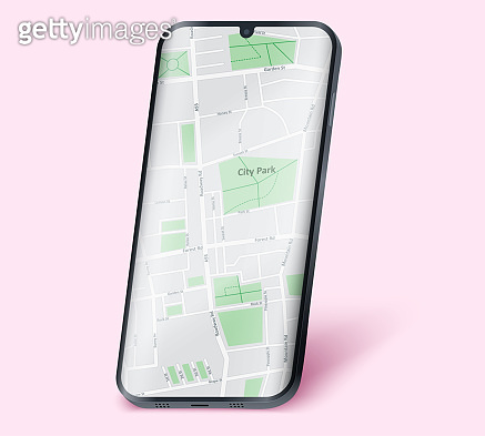 Smartphone layout mockup with map