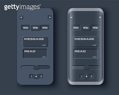 Neumorph UI dark kit on device screen
