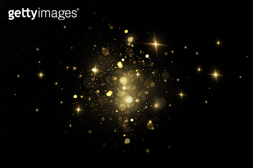 Glitter effect of particles. Gold is sparkling. Star dust sparkling particles on a transparent background. Vector illustration.magic.Christmas.cosmic dust.