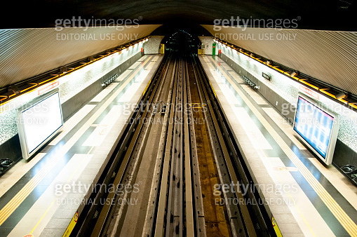 Santiago, Chile - January 24, 2015: Station in the Santiago Metro transit system