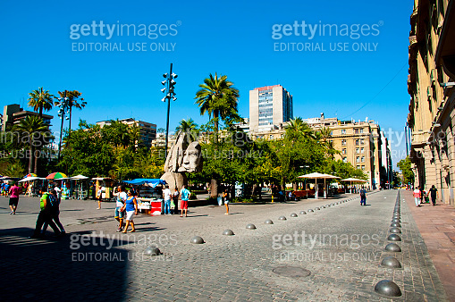 Santiago, Chile - January 24, 2015: Plaza de Armas main square