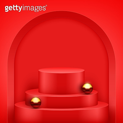 Red Presentation podium with gold balls