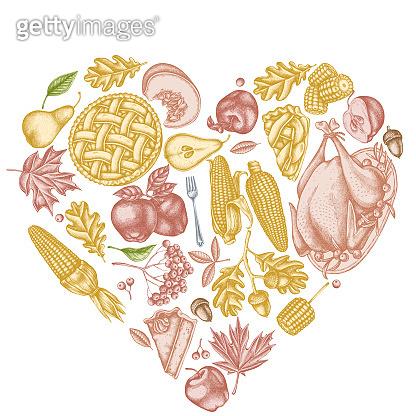 Heart design with pastel pumpkin, fork, knife, pears, turkey, pumpkin pie, apple pie, corn, apples, rowan, maple, oak