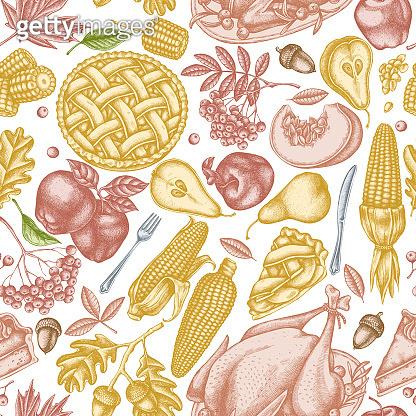 Seamless pattern with hand drawn pastel pumpkin, fork, knife, pears, turkey, pumpkin pie, apple pie, corn, apples, rowan, maple, oak