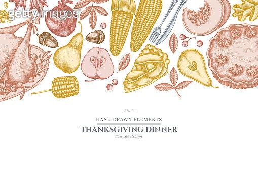 Design with pastel colored pumpkin, fork, knife, pears, turkey, pumpkin pie, apple pie, corn, apples, rowan, maple, oak