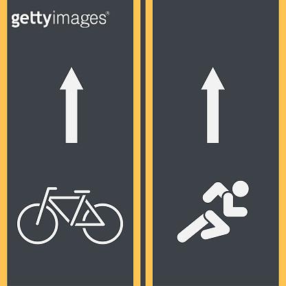 Bike path and Bicycle symbol on asphalt