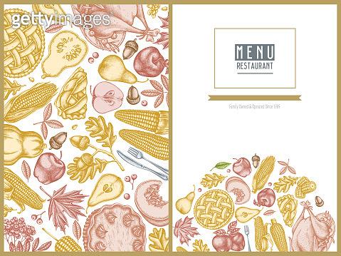 Menu cover design with pastel pumpkin, fork, knife, pears, turkey, pumpkin pie, apple pie, corn, apples, rowan, maple, oak