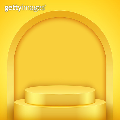 Yellow Presentation podium with arch