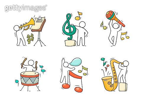 Music set with happy little people