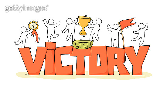 Sketch of little people with word Victory