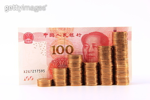 Chinese money stack, economy growth concepts