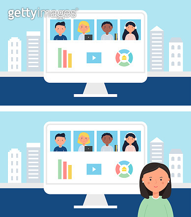 Online School or Office Team Business Meeting, Conference or Class. Stay and Work from Home Concept Vector Illustration.