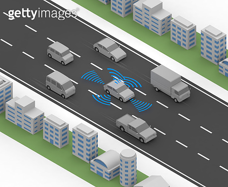 A car that runs automatically. Run while keeping a distance between cars. 6 cars. A car running on the road. Radar out of the car. isometric.
