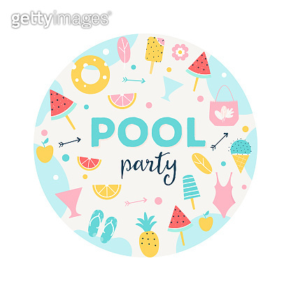 Summer Pool or Beach Party Round Sign. Poster, Flyer or Invitation Card Vector Design