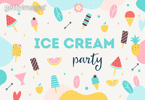 Ice Cream Party Colorful Background. Summer Party Poster, Flyer or Initation Card. Vector Design