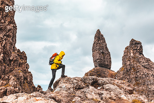 Man hiking in Scotland, Isle of Skye at the Old Man of Storr