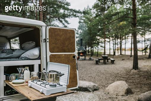 Camper van with camping stove