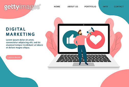 Digital marketing. Internet advertising. Landing page. Modern web pages for web sites.