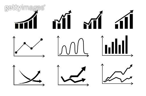 Set graphs icons.Growing and decreasing chart. Data statistics. Vector