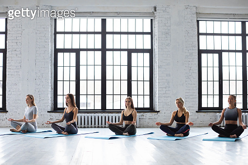 Five beautiful young yoga women sitting cross legged in a lotus pose at a gym. Balance of soul and body.