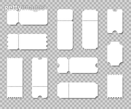 Blank ticket set. Use for coupons, lotterys, tickets movie, concert, boarding on transport. Empty template. Vector