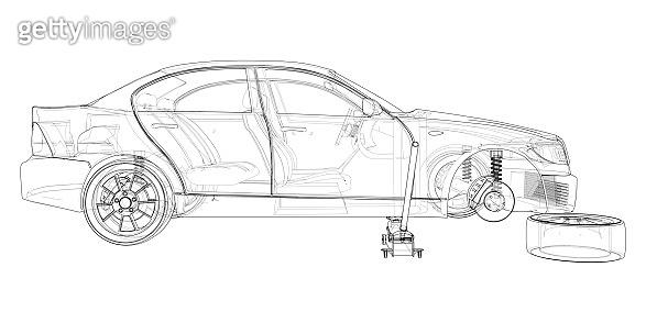Concept car with Floor Car Jack. Vector