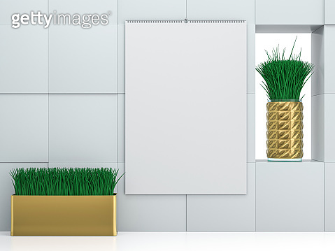 Stock paper cover Wall calendar. Mockup on white background. 3D illustration.
