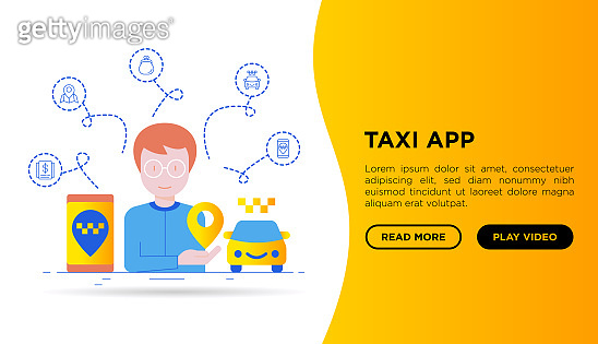 Man using taxi app. Web page template with thin line icons: payment method, promocode, app settings, info, support service, phone number, location, pointer, route, destination. Vector illustration.