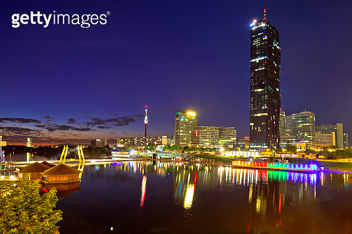 Vienna Donaustadt financial and bussines district and Danube river evening view
