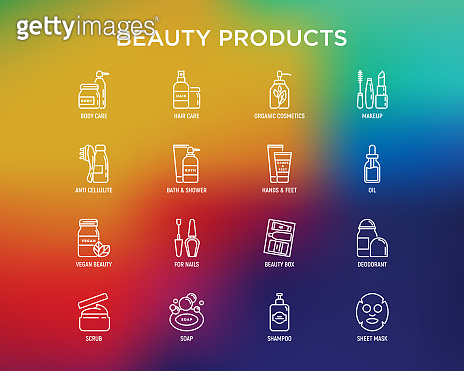 Beauty products thin line icons set: skin care, cream, gel, organic cosmetics, make up, soap dispenser, nail care, beauty box, deodorant, face oil, scrub, shampoo, sheet mask. Vector illustration.