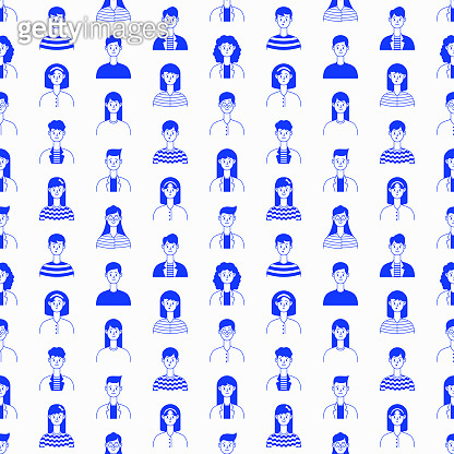 Seamless pattern of people with different emotions. Caucasian, young happy people in casual clothing. Vector illustration in flat style.