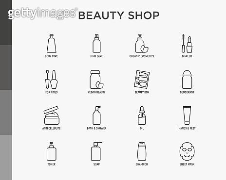 Beauty shop thin line icons set: skin care, cream, gel, organic cosmetics, make up, soap dispenser, nail care, beauty box, deodorant, face oil, scrub, shampoo, sheet mask. Modern vector illustration.