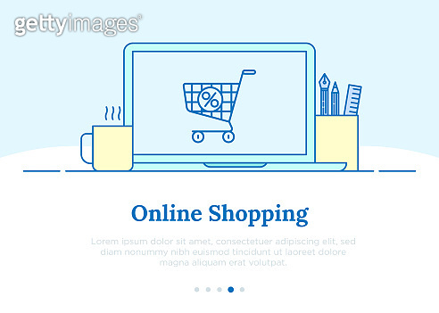 E-commerce, pay online and online shopping concept. Open laptop with shopping cart on screen. Thin line icons. Vector illustration.