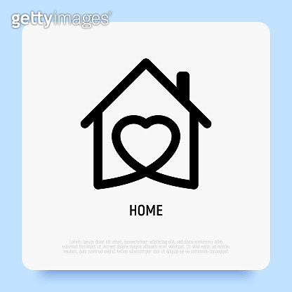 House with heart. Logo for real estate, construction business, shelter or home insurance. Thin line icon. Vector illustration.