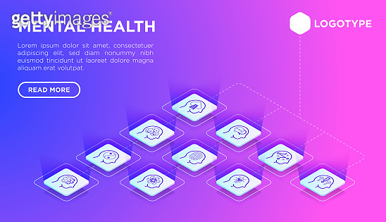 Mental health web page template with thin line isometric icons: mental growth, negative thinking, emotional reasoning, logical plan, obsession, inner dialogue, balance. Vector illustration.