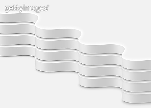 High-detailed abstract white waves, vector illustration