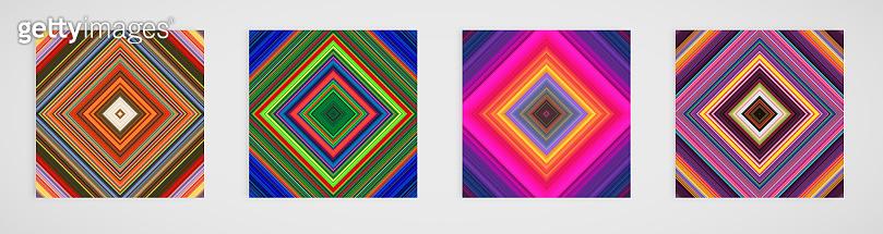 Colorful set of four line pattern, vector illustration