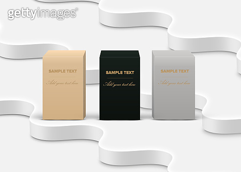 Realistic high-detailed product boxes on white background, vector illustration