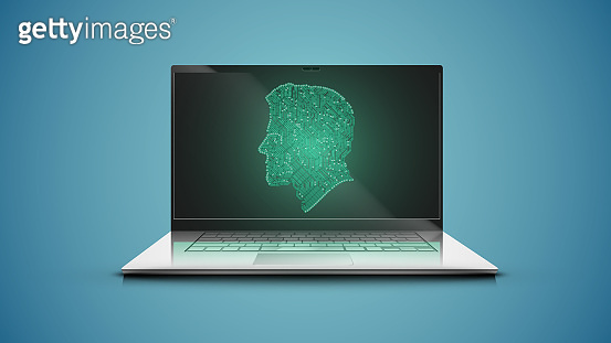 Realistic laptop with green electric circuit map head onscreen, vector illustration