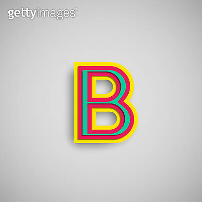 Colorful papercut character from a fontset, vector illustration