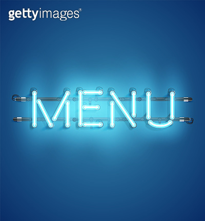 Neon realistic word for advertising, vector illustration