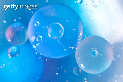 Macro fluid, abstract blue background.