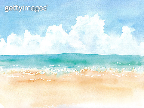 Summer cumulonimbus sky and sandy beach, watercolor illustration