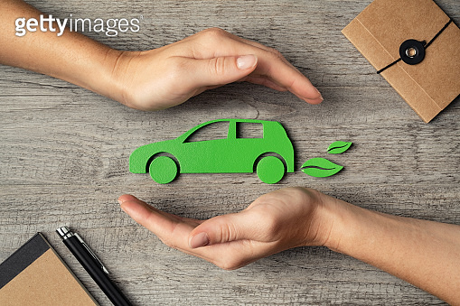 Electric car and insurance concept