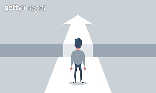 Business challenge and solution vector concept with businessman standing over big gap. Symbol of overcoming obstacles, strategy, analysis, creativity