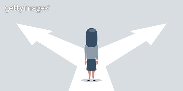 Business decision concept vector illustration. Businesswoman standing on the crossroads with two arrows and directions