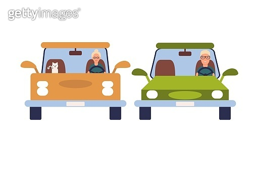 Funny people driving cars isolated on white background. Colorful vector illustration in flat cartoon style