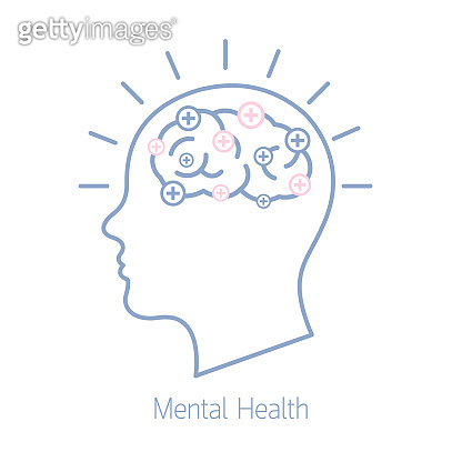 Vector illustration mental health. Healthcare wellbeing and insurance wellness concept