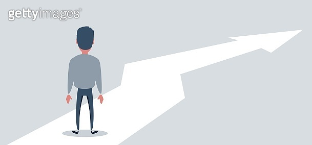 Business growth vector concept with man walking towards upwards arrow. Symbol of success, promotion, career development