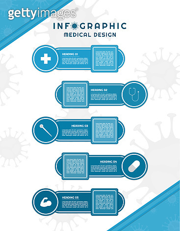 Infographic for medical coronavirus design geometric circle and square shape